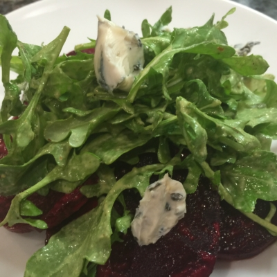 Roasted Beet Salad with Arugula and Blue Cheese