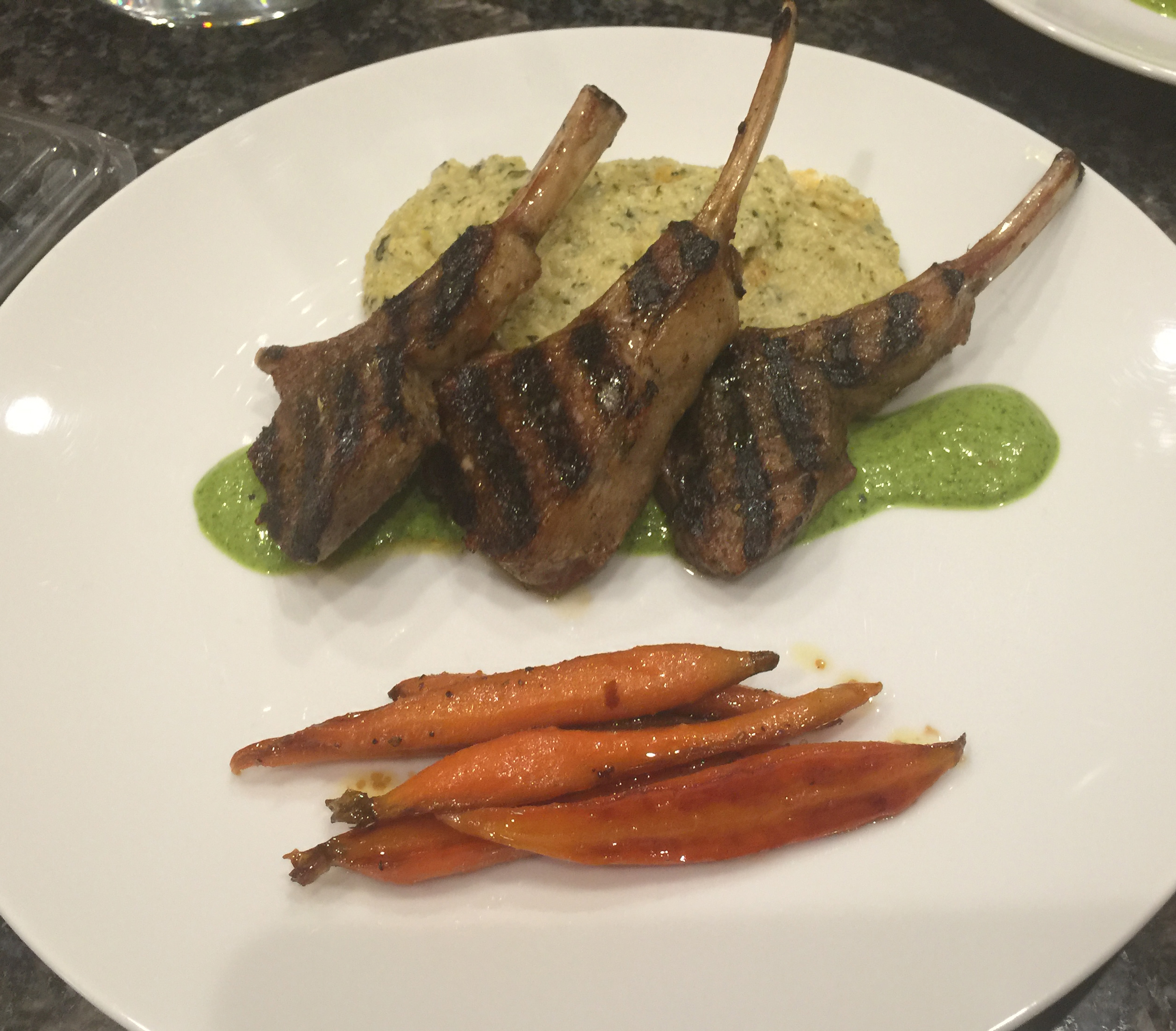 Grilled Lamb Rib Chops with Chimichurri Sauce, Creamy Polenta and Roasted Carrots