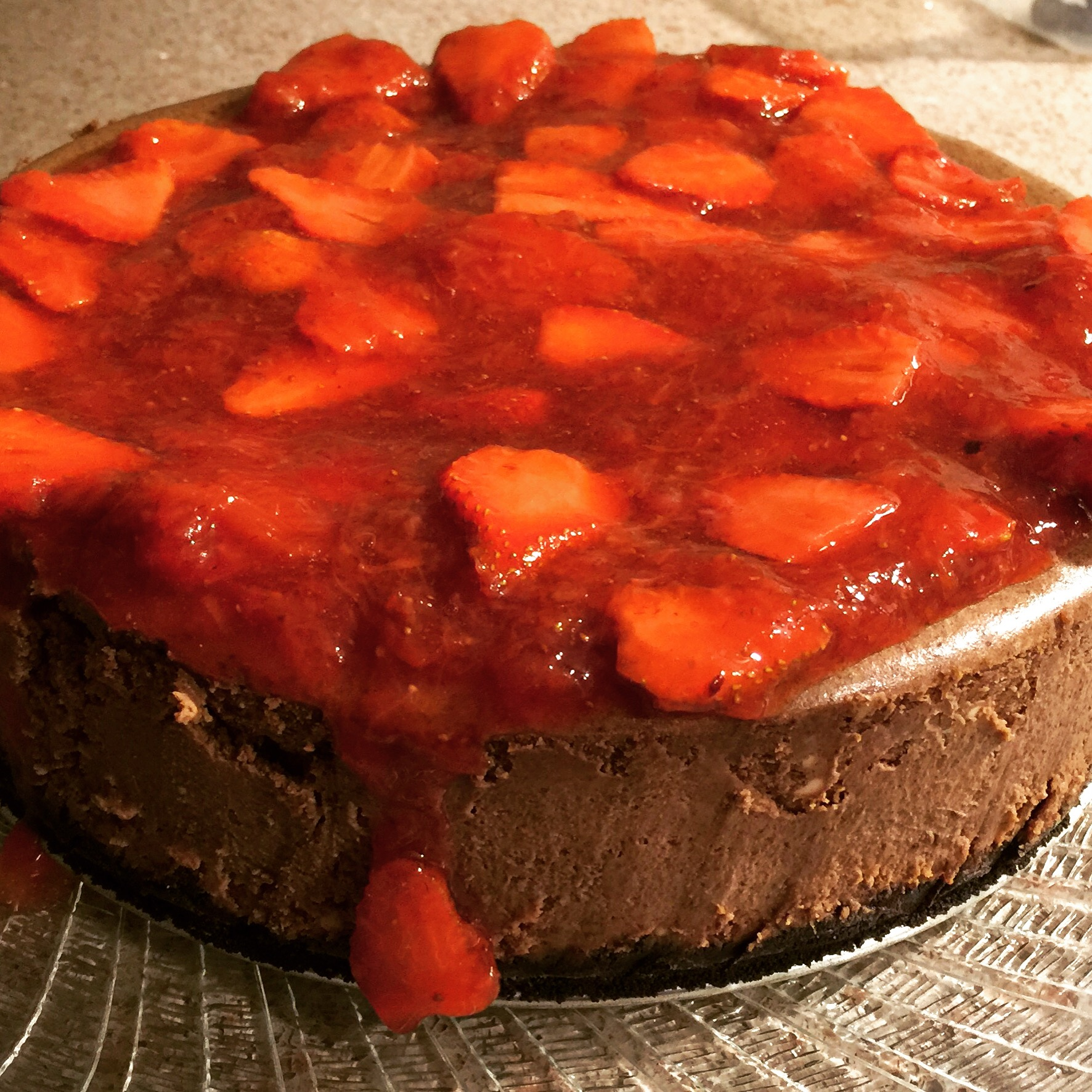 Chocolate Cheesecake with Fresh Strawberries