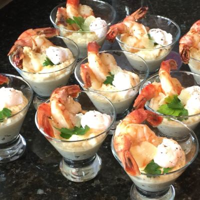 Shrimp and Grits with Poached Quail Egg