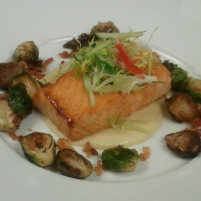 Apple Cider Glazed Salmon, Brussel Sprouts, Bacon, Parsnip Puree