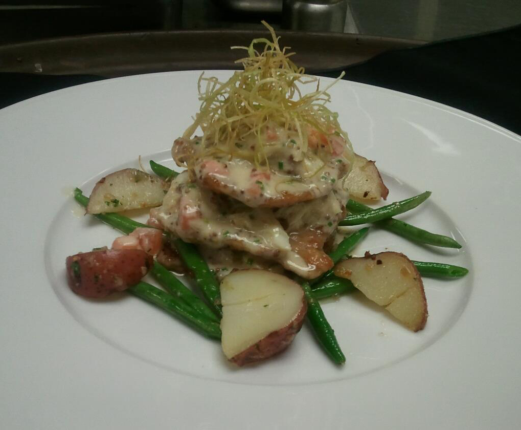 Veal Scallopini, New Potatoes, Haricot Verts, Mustard Sauce